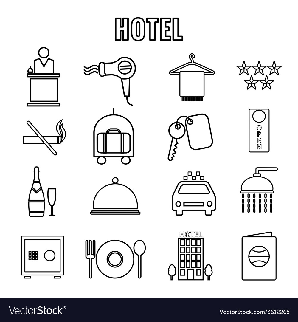Hotel themed line graphics vector | Price: 1 Credit (USD $1)
