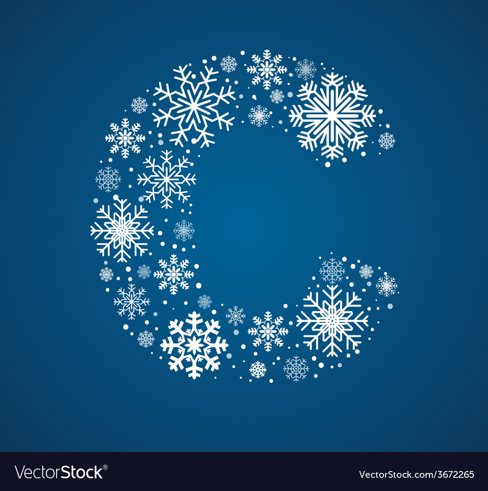 Letter c font frosty snowflakes vector | Price: 1 Credit (USD $1)