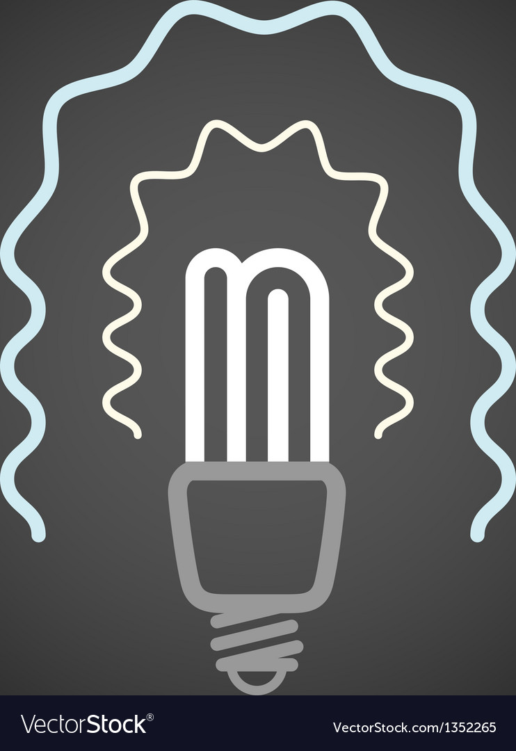 Lighting energy save lamp on dark background vector | Price: 1 Credit (USD $1)