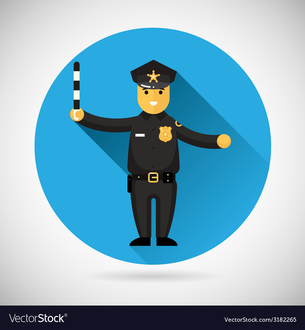 Police officer character with adjusting rod icon vector | Price: 1 Credit (USD $1)