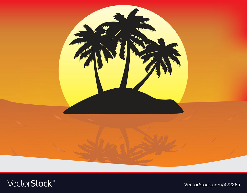 Sunset paradise vector | Price: 1 Credit (USD $1)
