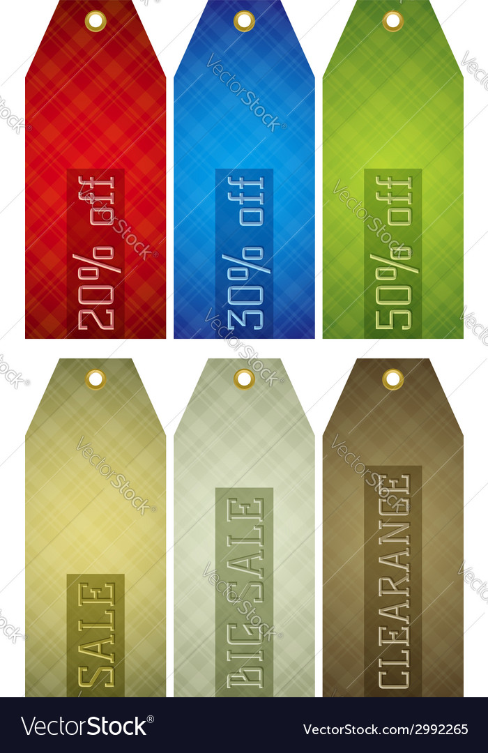 Vintage color labels with sale offer vector | Price: 1 Credit (USD $1)
