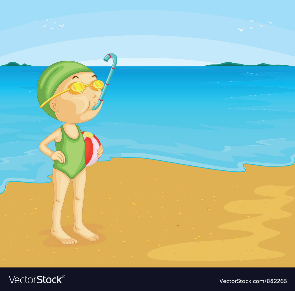 Beach scene vector | Price: 3 Credit (USD $3)