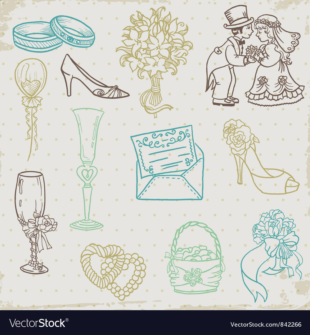 Beautiful wedding hand drawn vector | Price: 1 Credit (USD $1)