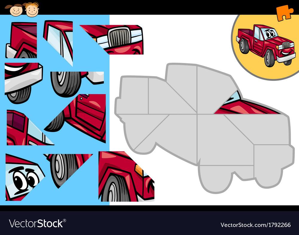 Cartoon car jigsaw puzzle game vector | Price: 1 Credit (USD $1)