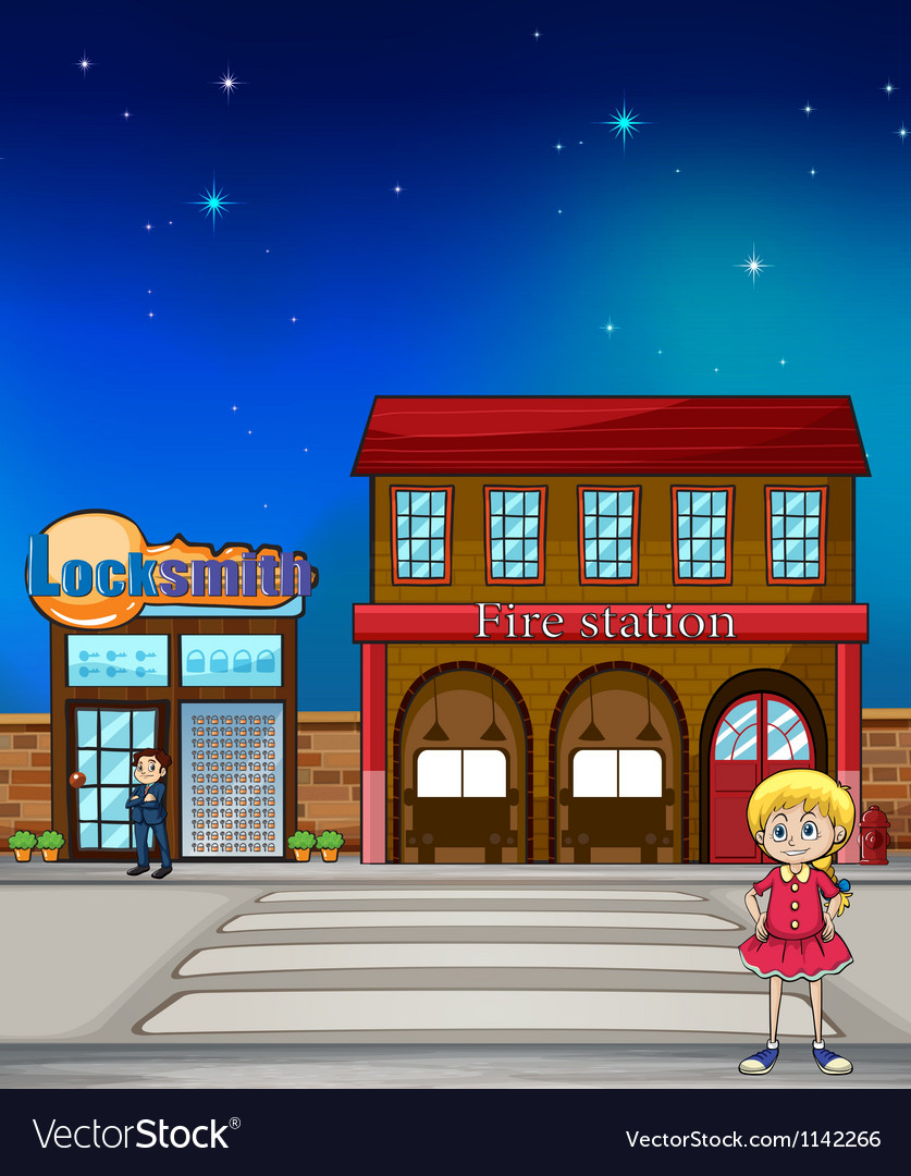 Kid locksmith and fire station vector | Price: 1 Credit (USD $1)