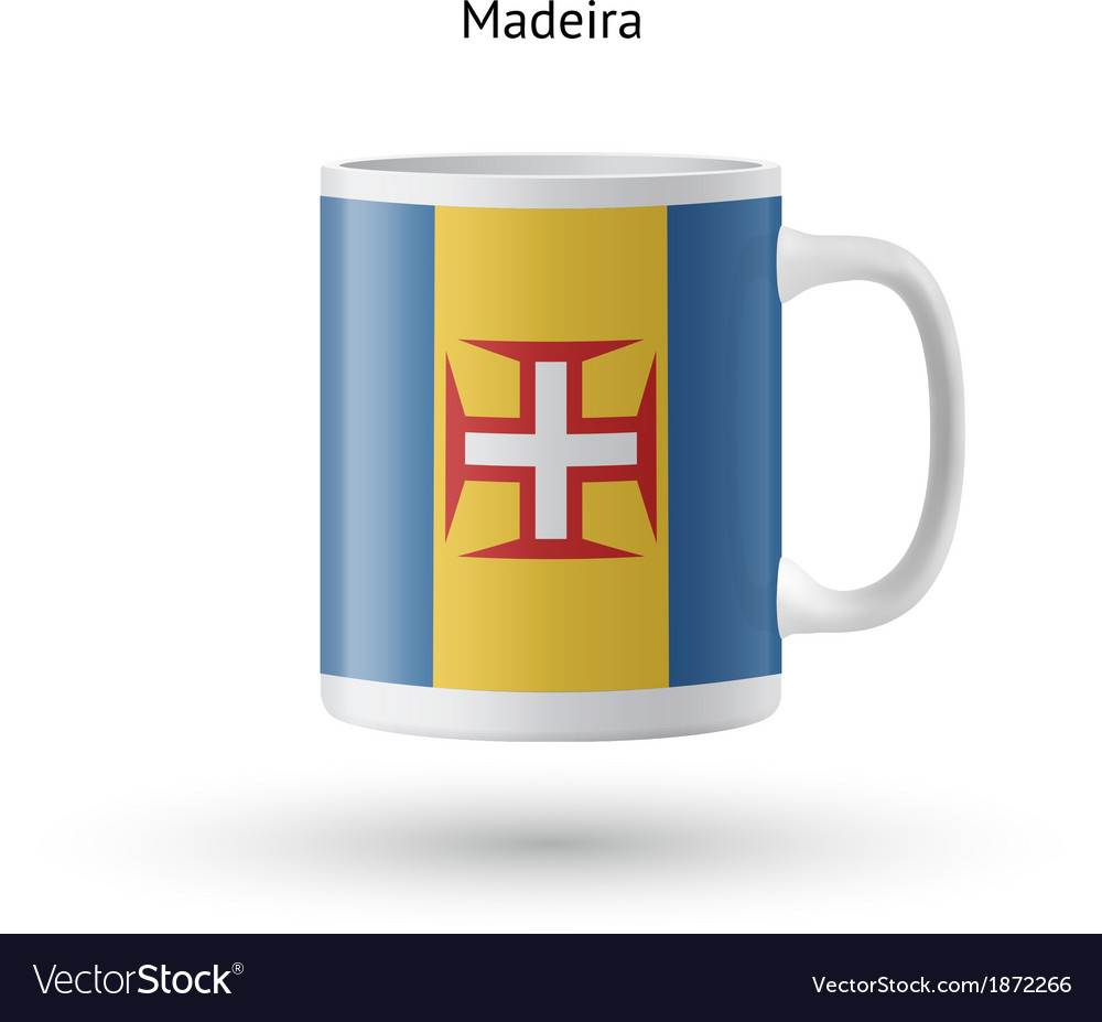 Madeira flag souvenir mug on white background vector | Price: 1 Credit (USD $1)