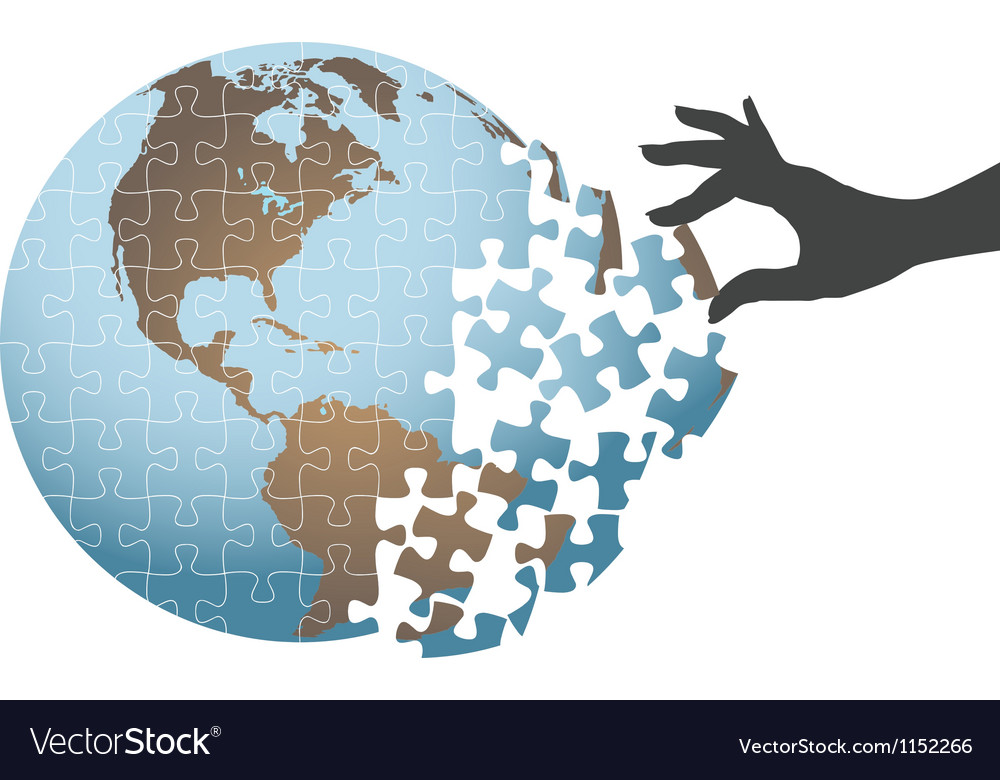 Person hand find global puzzle solution vector | Price: 1 Credit (USD $1)