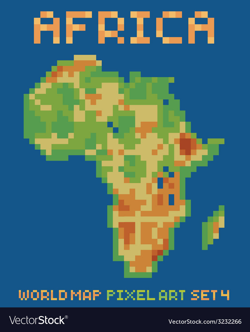 Pixel art style of africa physical world map vector | Price: 1 Credit (USD $1)