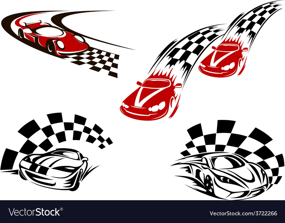 Racing cars with checkered winding roads vector   Price: 1 Credit (USD $1)