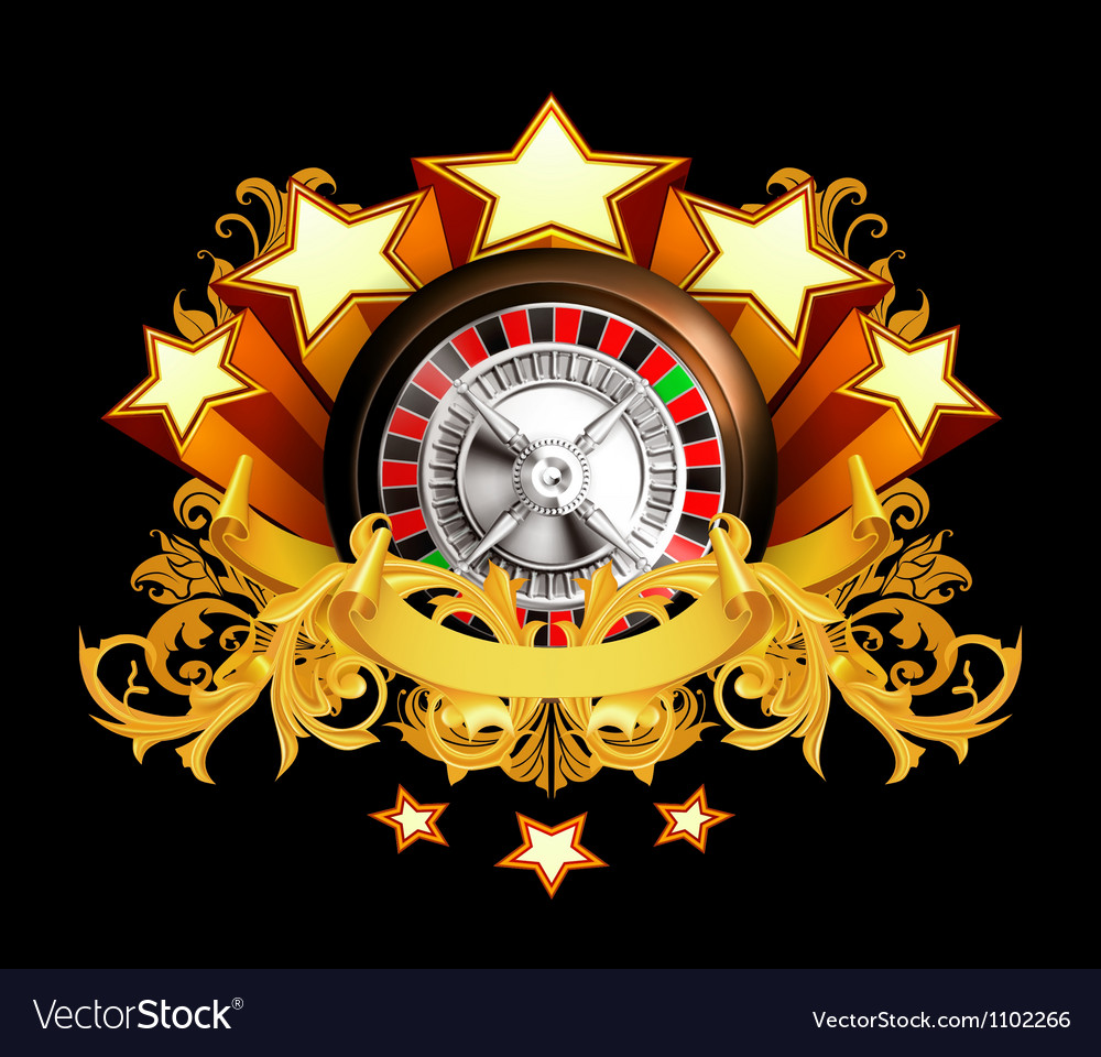 Roulette insignia on black vector | Price: 1 Credit (USD $1)