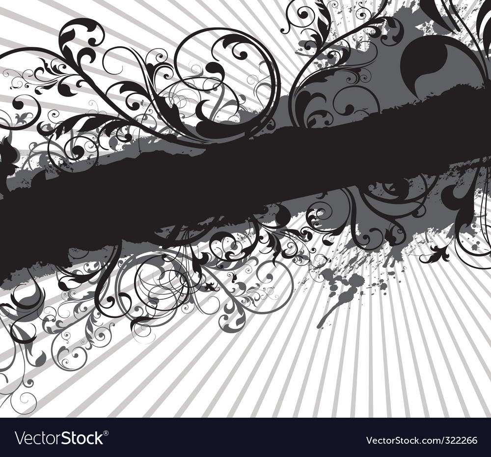 Swirling floral background banner vector | Price: 1 Credit (USD $1)