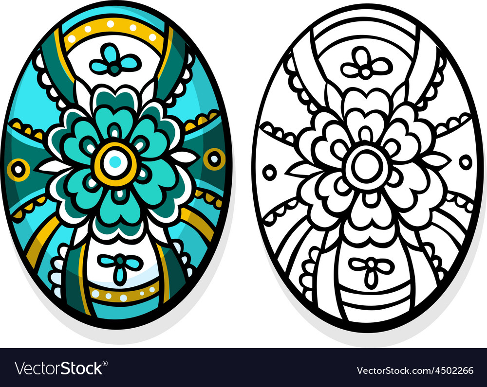 Turquoise easter egg  coloring book vector