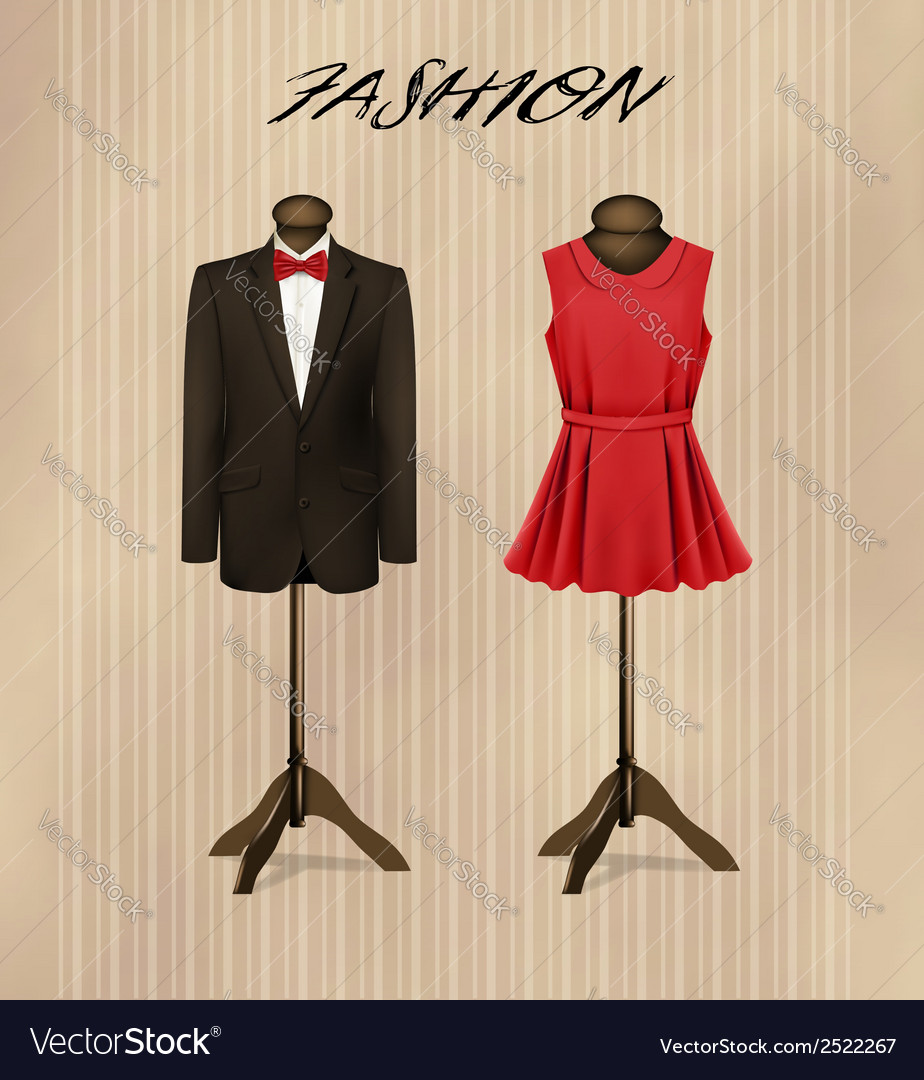 A suit and a retro formal dress on mannequins vector | Price: 1 Credit (USD $1)