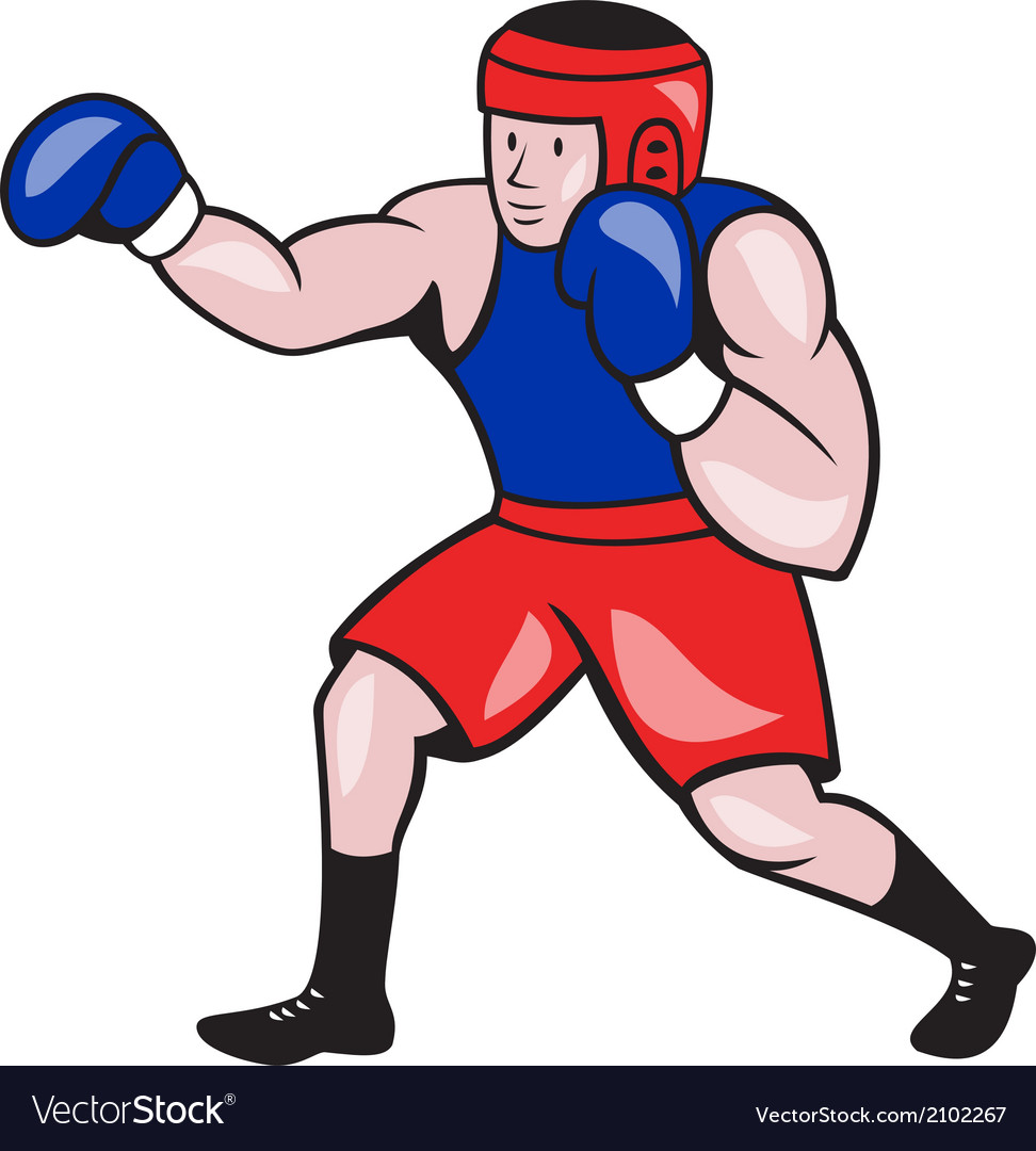 Amateur boxer boxing cartoon vector | Price: 1 Credit (USD $1)
