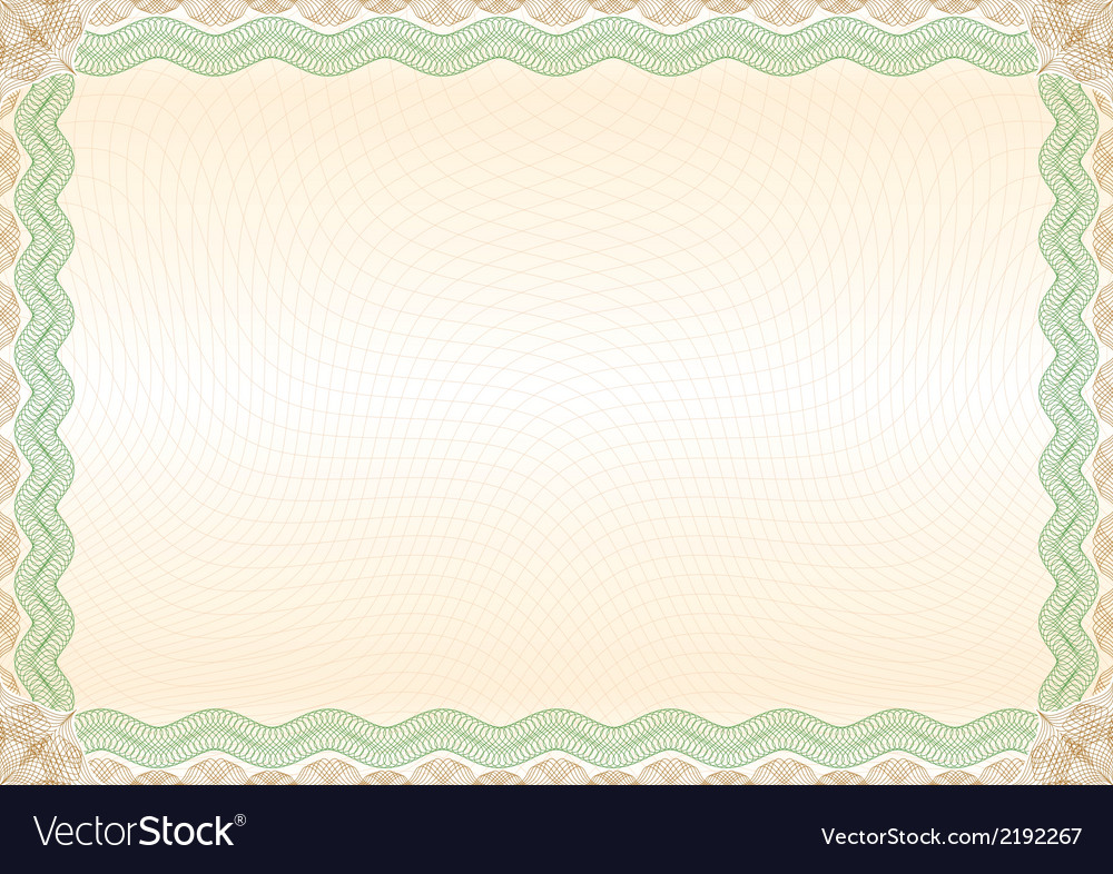 Certificate green brown border landscape vector | Price: 1 Credit (USD $1)