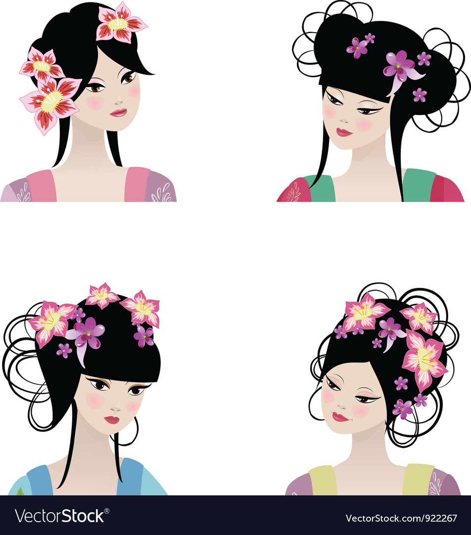 Chinese girls vector | Price: 3 Credit (USD $3)
