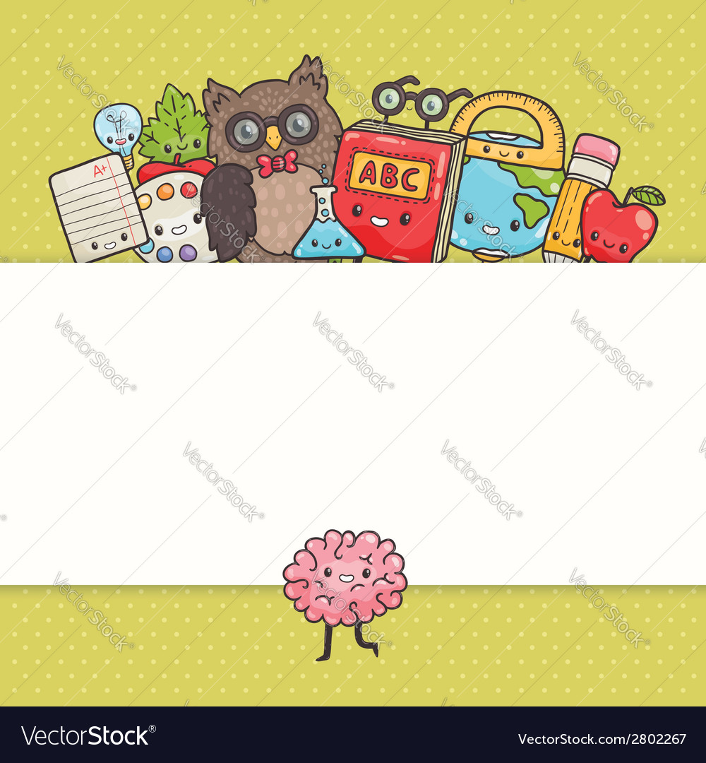 Cute cartoon characters back to school background vector | Price: 1 Credit (USD $1)