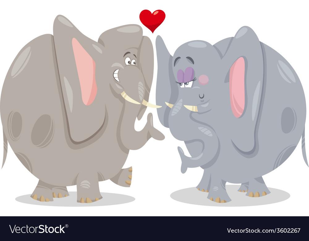 Elephants in love cartoon vector | Price: 1 Credit (USD $1)