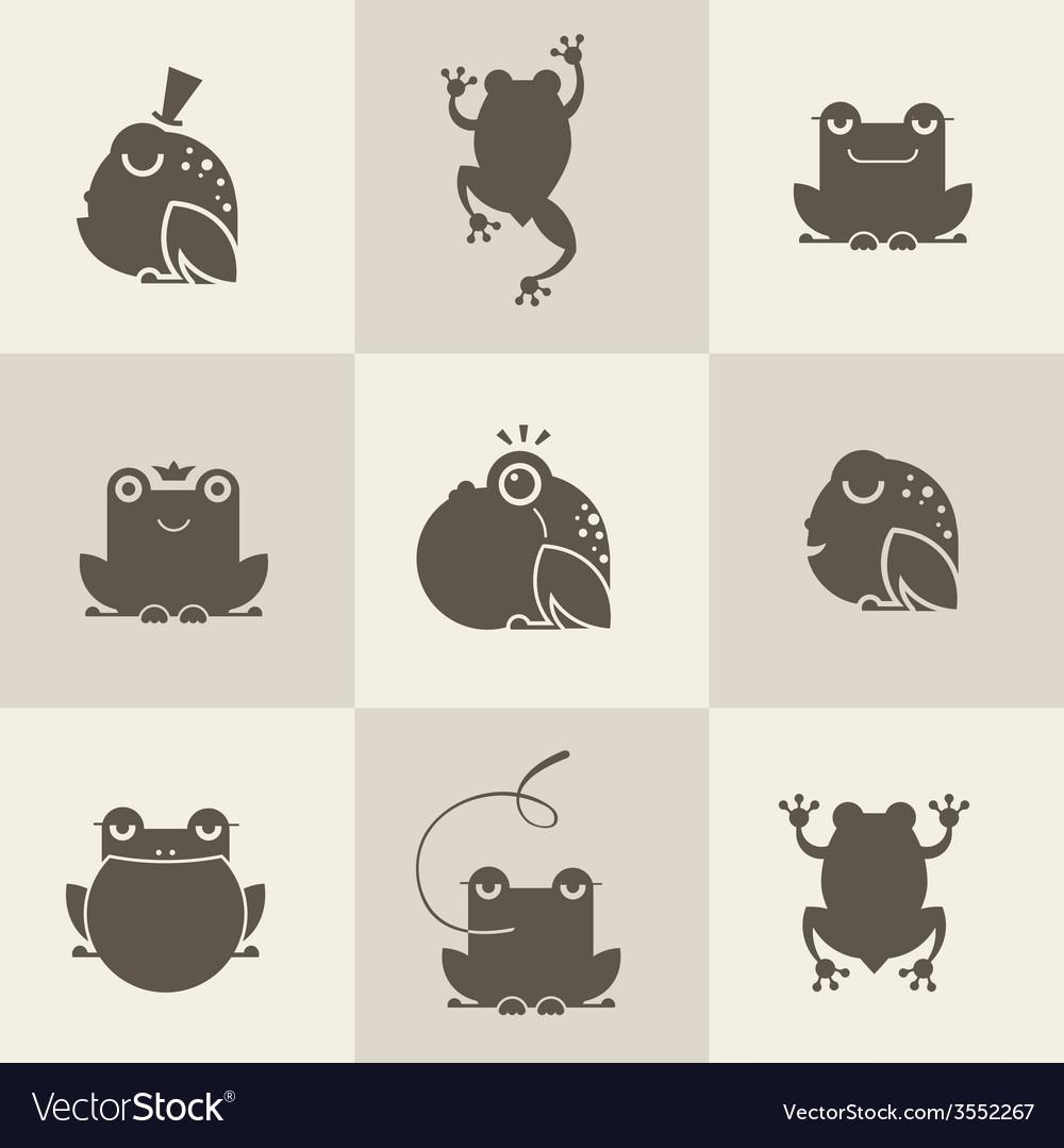 Frog characters flat vector