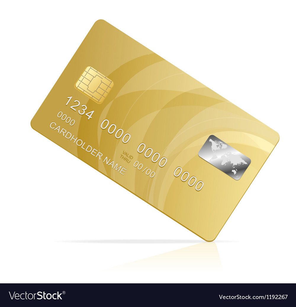 Gold credit card isolated vector | Price: 1 Credit (USD $1)