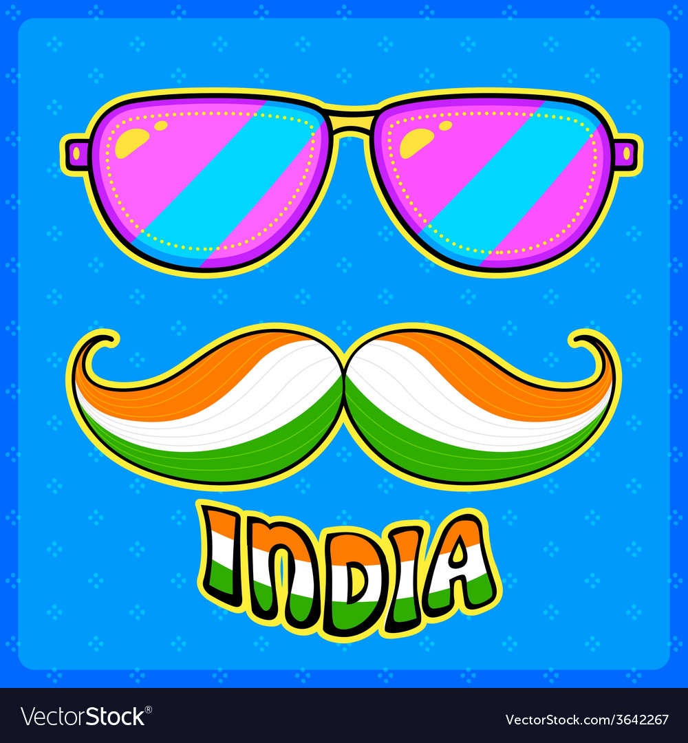 Indian kitsch style mustache and glasses vector | Price: 1 Credit (USD $1)