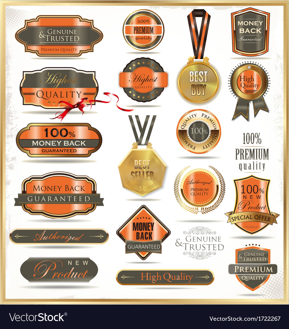 Luxury golden labels vector | Price: 1 Credit (USD $1)