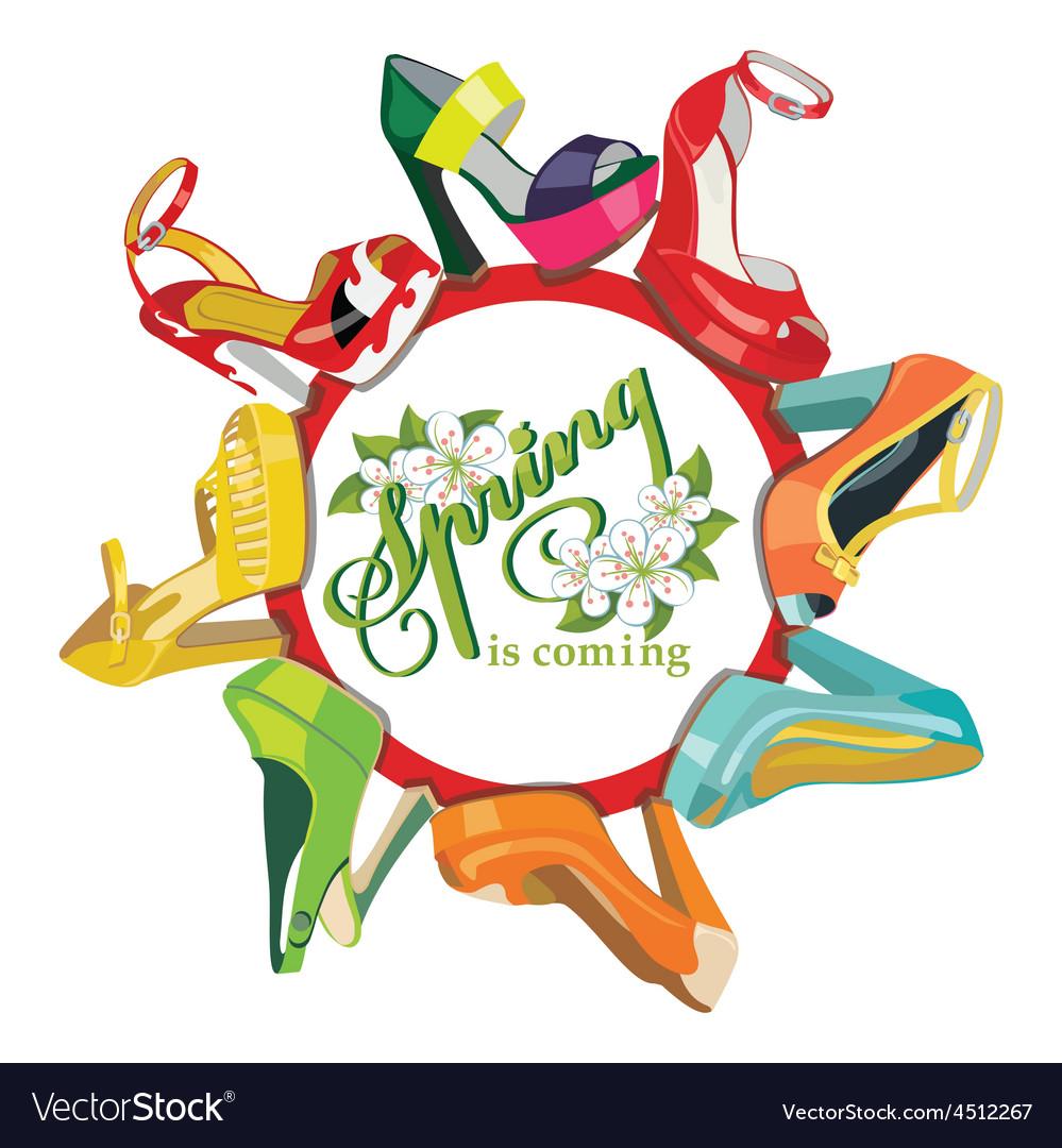 Multicoloured fashion womens shoescircle vector | Price: 1 Credit (USD $1)