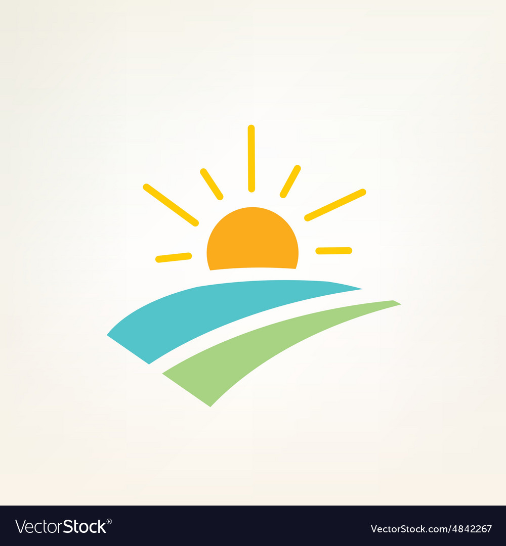 Sun and water waves simple icon vector