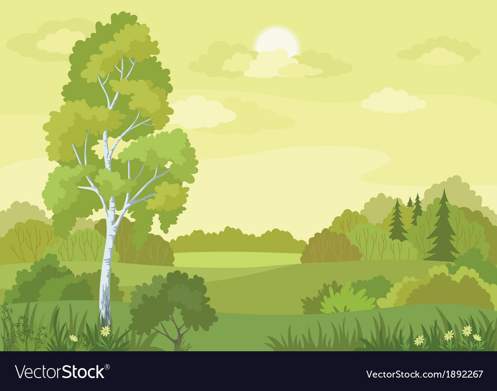 Woodland landscape vector | Price: 1 Credit (USD $1)