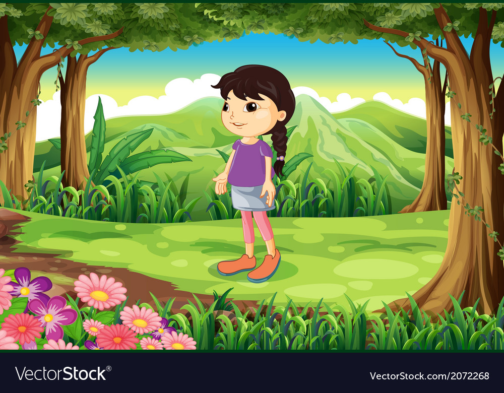 A cute little lady at the jungle vector | Price: 1 Credit (USD $1)