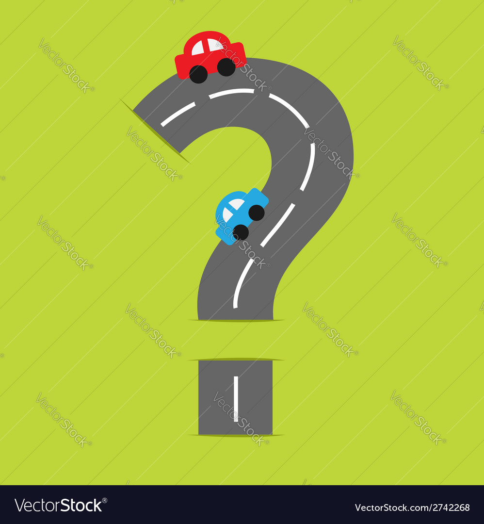 Background road big question mark and cartoon cars vector | Price: 1 Credit (USD $1)