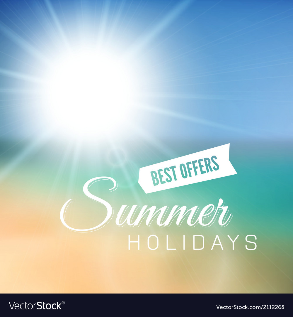 Blurry beach and blue sky with summer sun vector   Price: 1 Credit (USD $1)