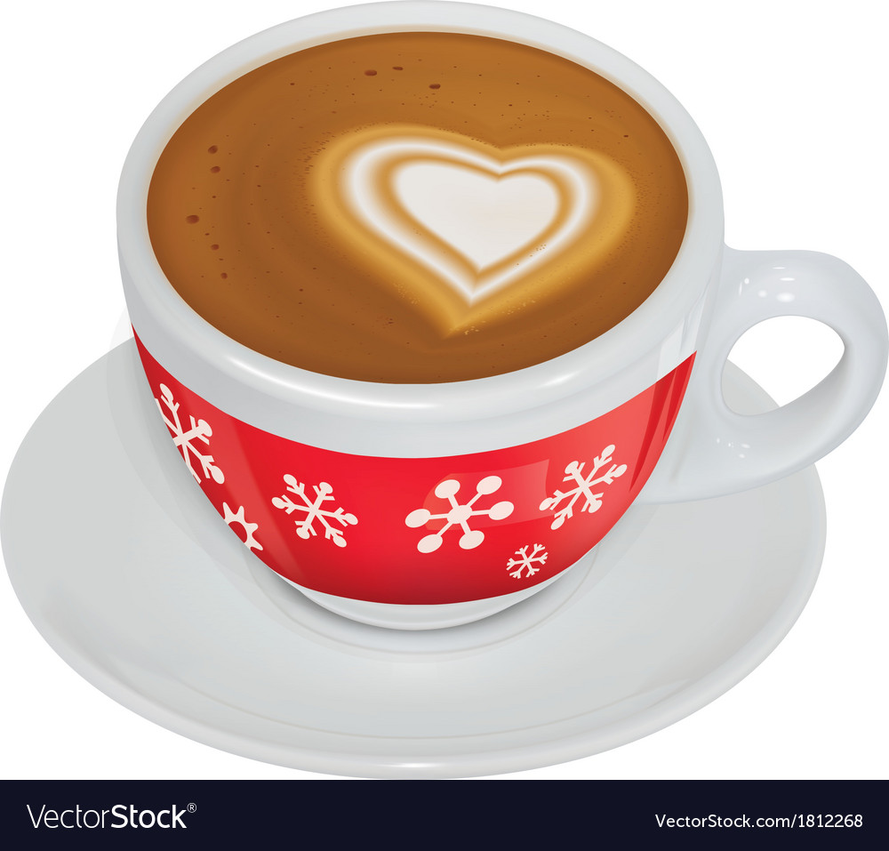 Cup of coffee with milk on a saucer vector | Price: 1 Credit (USD $1)