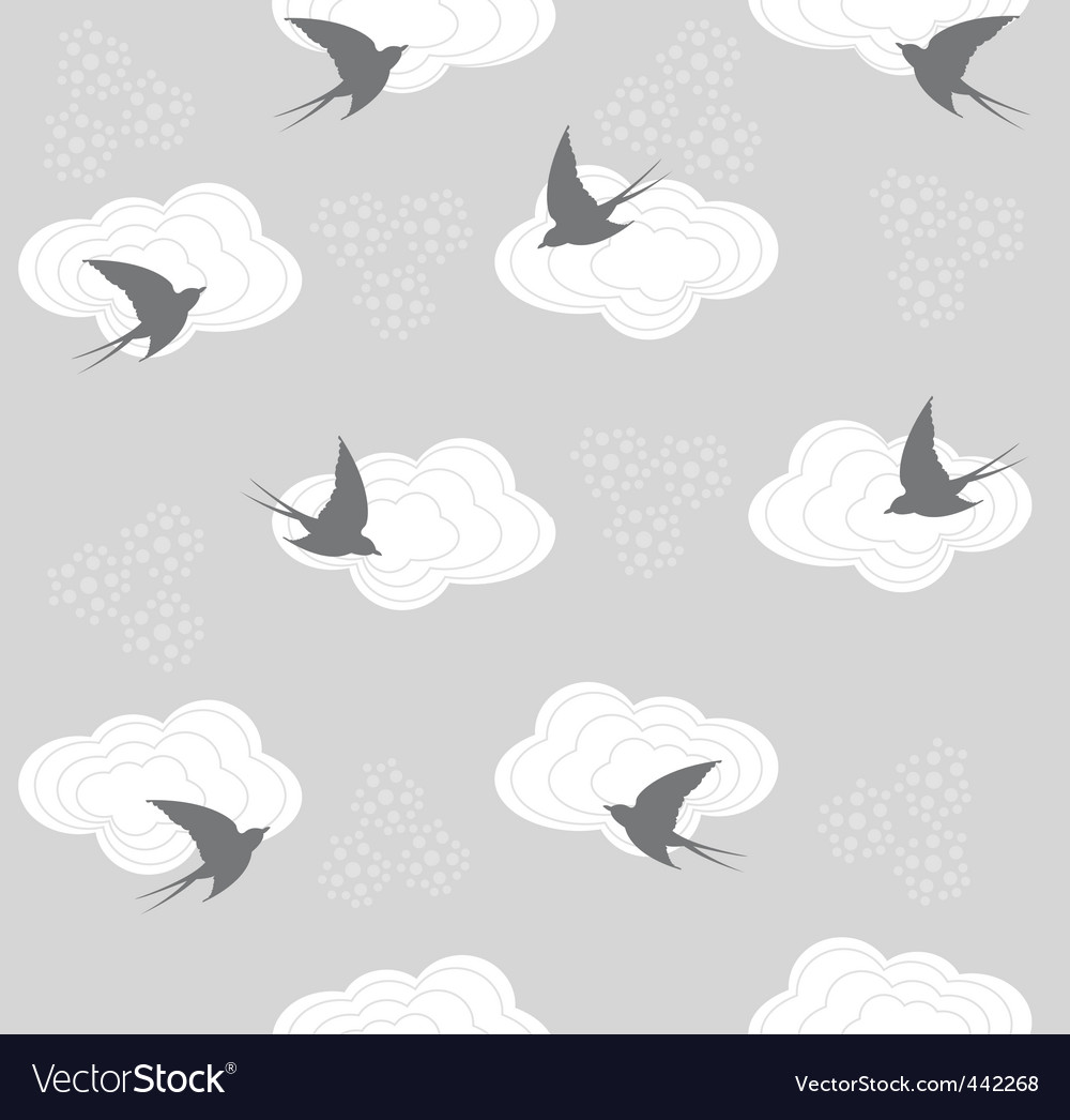 Cute seamless swallow and clou vector | Price: 1 Credit (USD $1)