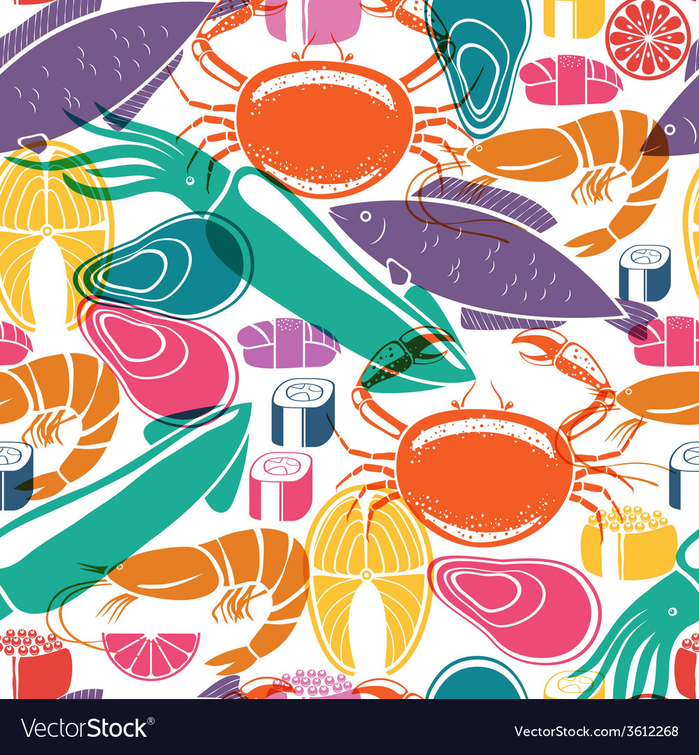Fish and seafood background seamless pattern vector | Price: 1 Credit (USD $1)