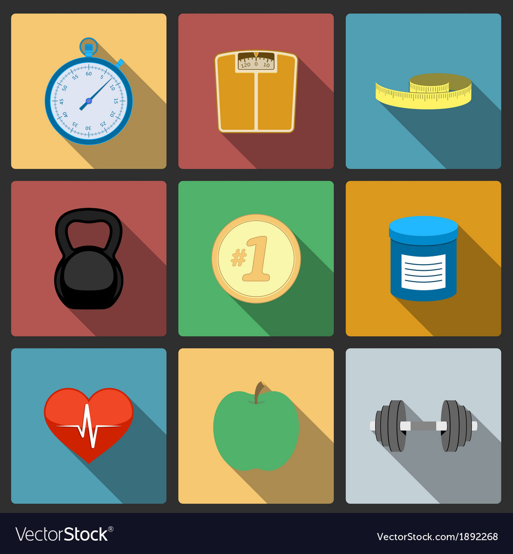 Fitness healthy lifestyle icons set vector | Price: 1 Credit (USD $1)