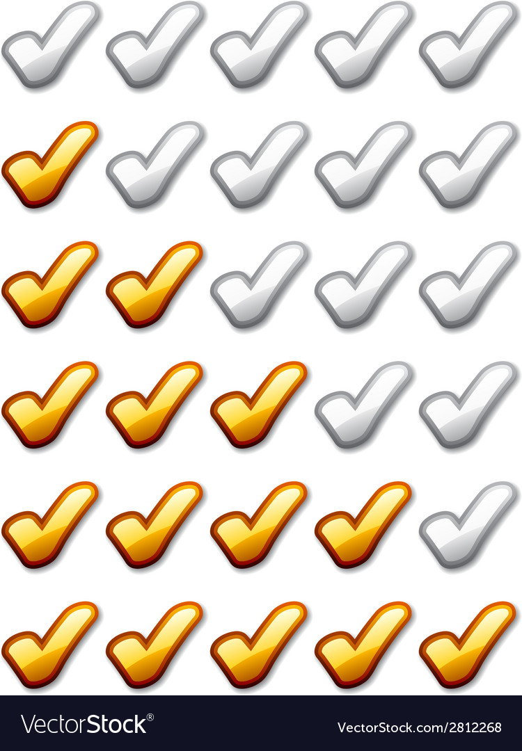 Golden rating checkmarks vector | Price: 1 Credit (USD $1)