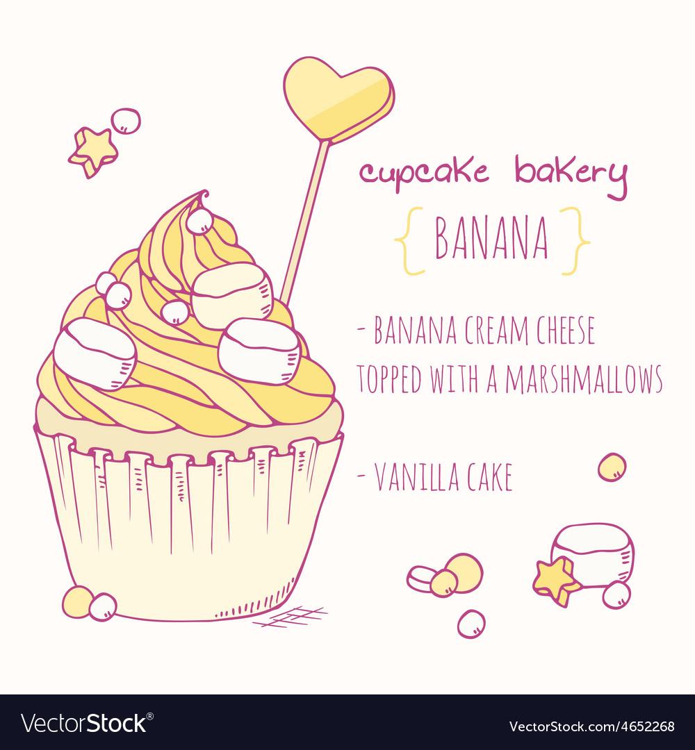 Hand drawn banana cupcake vector | Price: 1 Credit (USD $1)