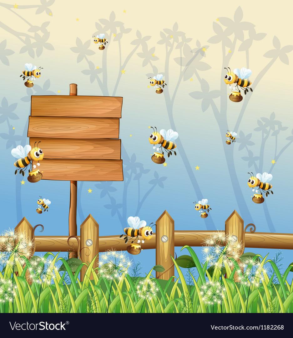 Honeybees signboard vector | Price: 1 Credit (USD $1)
