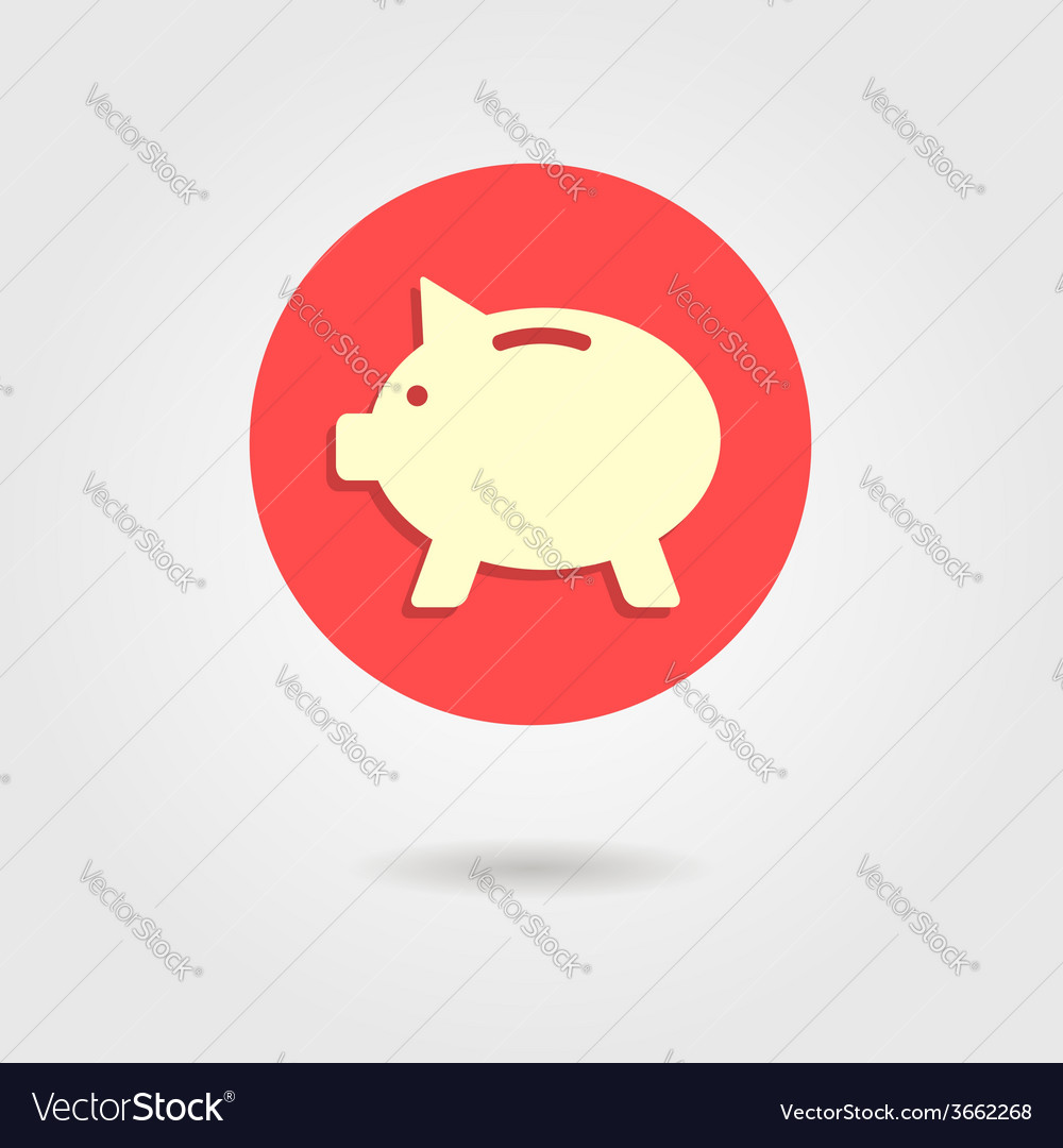 Piggy bank in the circle with shadow vector | Price: 1 Credit (USD $1)