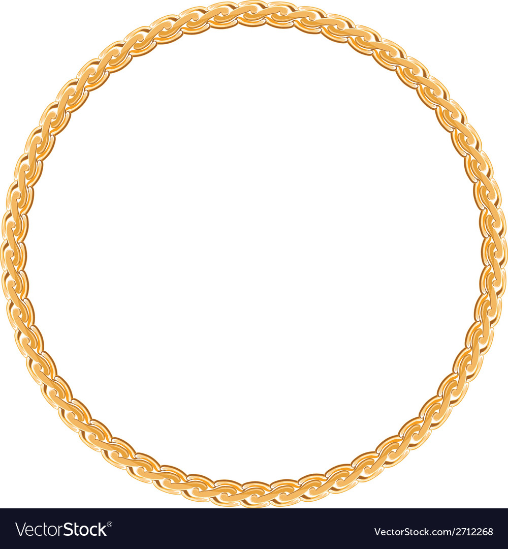 Round frame - gold chain on the white background vector | Price: 1 Credit (USD $1)