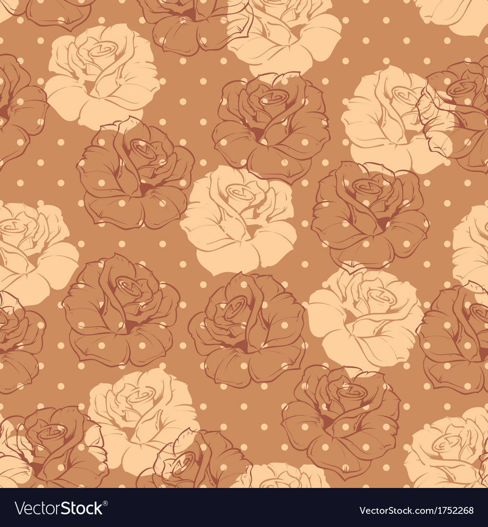 Seamless brown dots and roses floral pattern vector | Price: 1 Credit (USD $1)