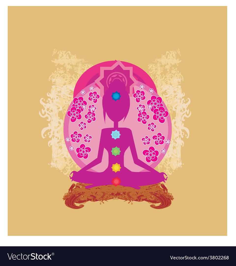 Yoga lotus pose padmasana with colored chakra vector   Price: 1 Credit (USD $1)