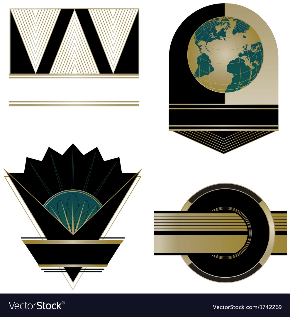 Art deco logos and design elements vector | Price: 1 Credit (USD $1)