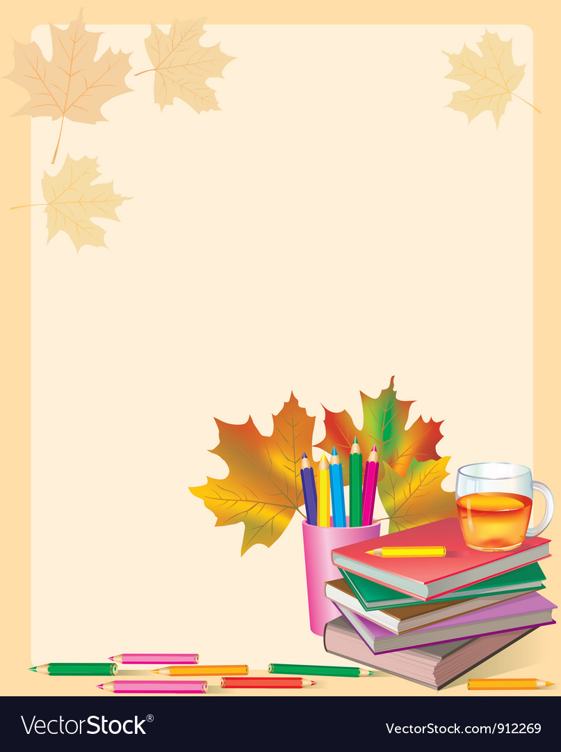 Autumn frame with school books vector | Price: 3 Credit (USD $3)