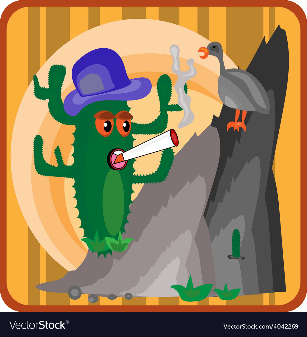 Cactus growing on a cliff vector | Price: 1 Credit (USD $1)