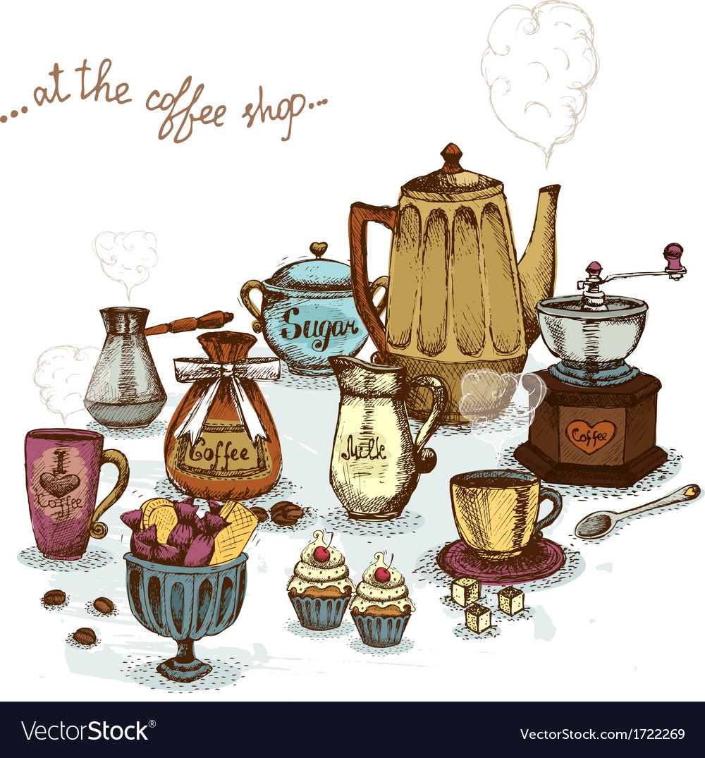 Coffee shop still life vector | Price: 1 Credit (USD $1)