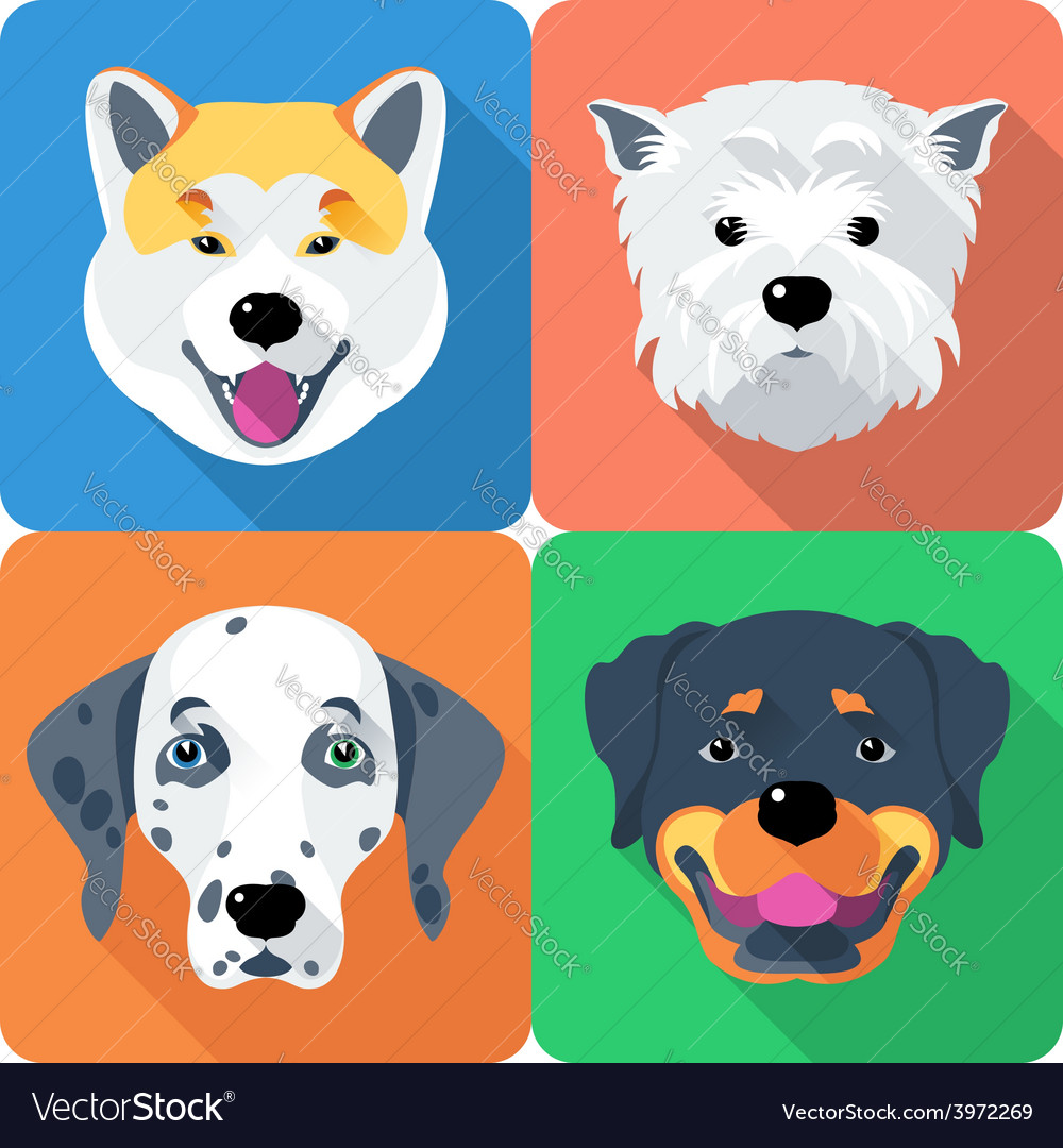 Dog akita inu dalmatian rottweiler and west vector | Price: 1 Credit (USD $1)