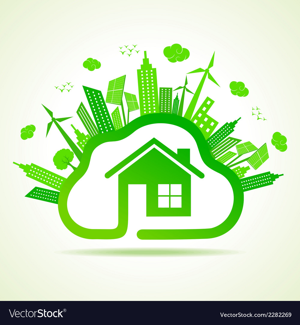 Ecology concept with eco clouds-cape and home vector | Price: 1 Credit (USD $1)